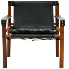 Black Leather Arne Norell Sirocco Easy Chair with Brass Buckles - Pair Available