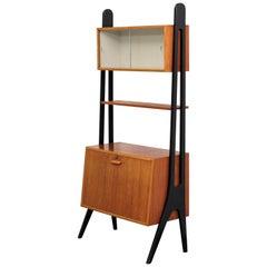 Teak Bookshelf with Glass Door Cabinet, Sweden, 1960s