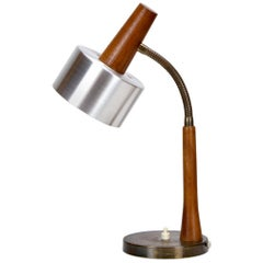 Teak, Brass and Aluminium 1960s Danish Desk Light