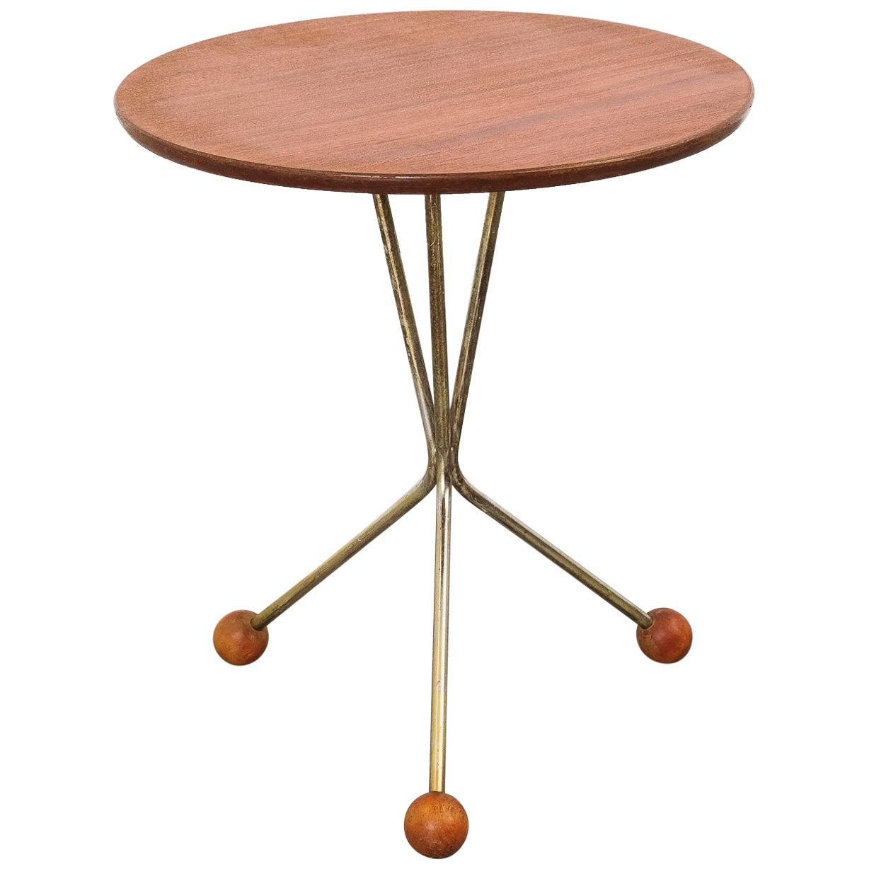 Teak and Brass Side Table by Albert Larsson for Alberts Tibro, 1950s