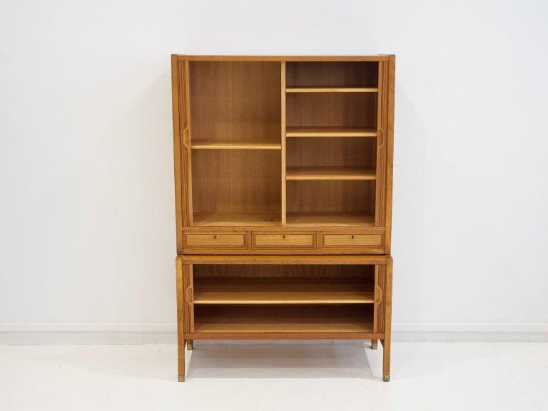 Scandinavian Modern Teak Cabinet by Bodafors with Tambour Doors For Sale