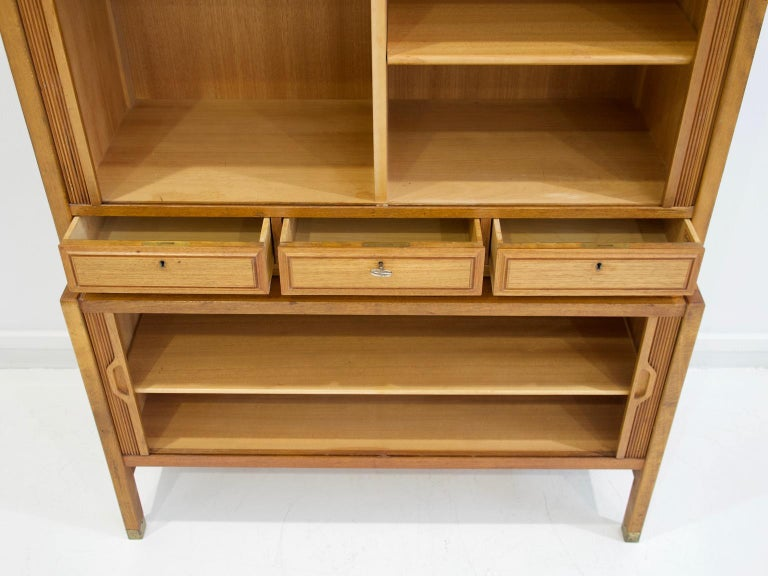 Swedish Teak Cabinet by Bodafors with Tambour Doors For Sale