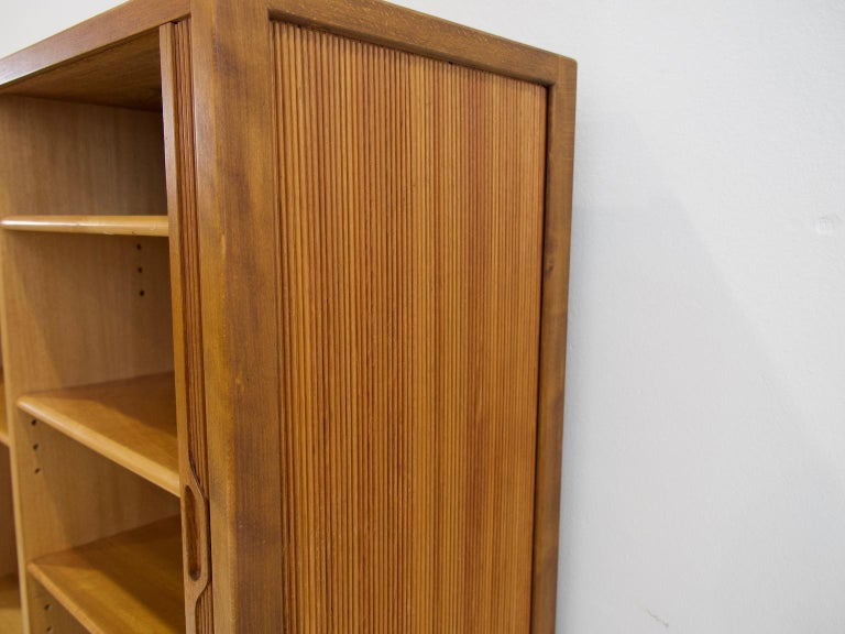 Brass Teak Cabinet by Bodafors with Tambour Doors For Sale