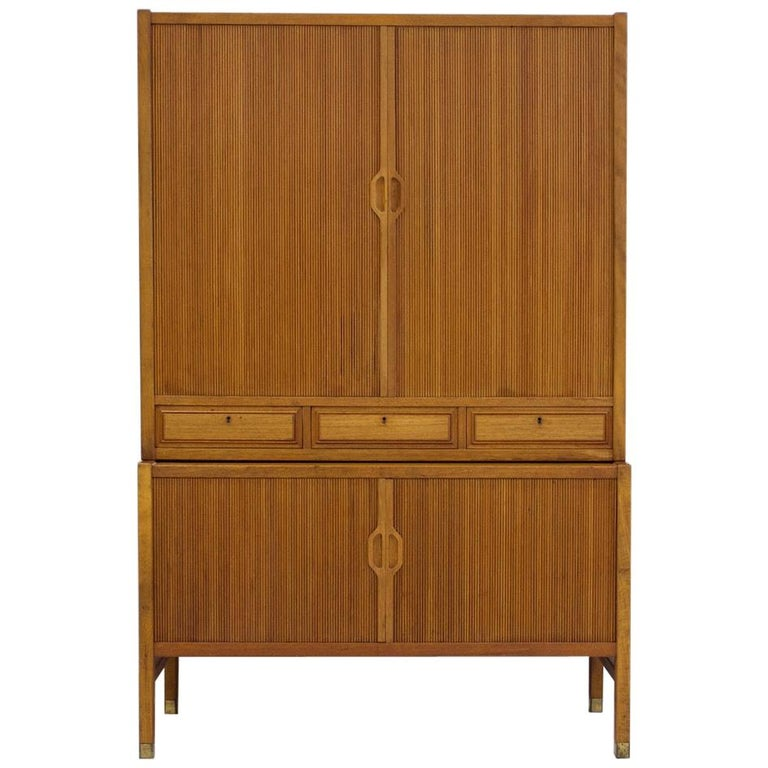 Teak Cabinet by Bodafors with Tambour Doors For Sale