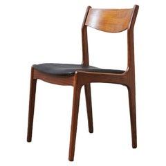 Teak Chair Erik Buck, Genuine Aniline Leather, 1960s