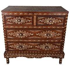Teak Chest of Drawers with Bone Inlay, 20th Century, India