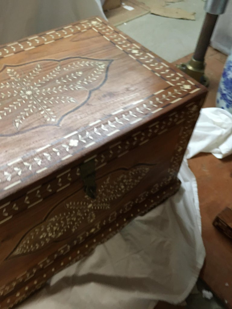 Teak Chest with Bone and Rosewood Inlay For Sale 5
