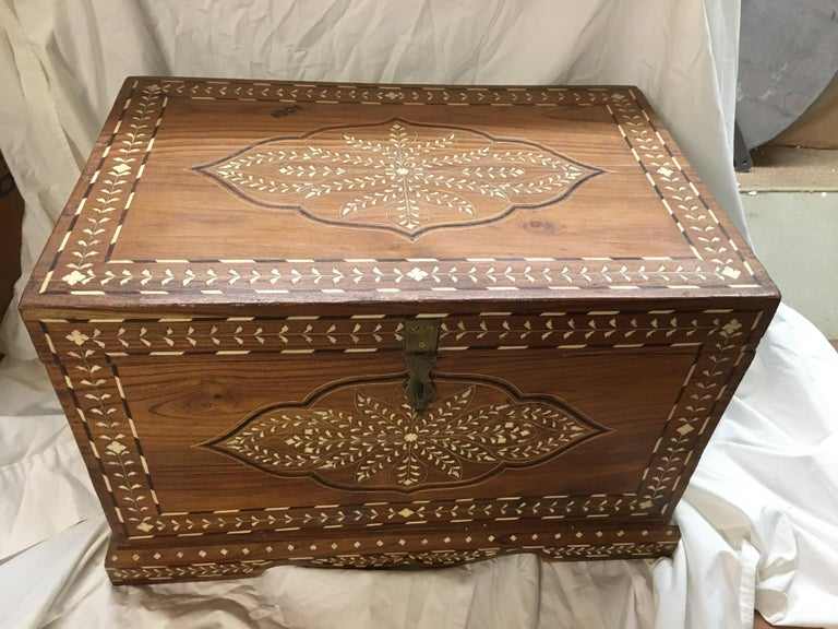 Indian Teak Chest with Bone and Rosewood Inlay For Sale