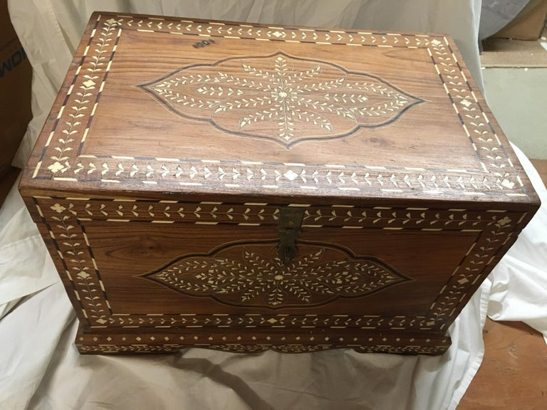 Teak Chest with Bone and Rosewood Inlay In Good Condition For Sale In Nantucket, MA