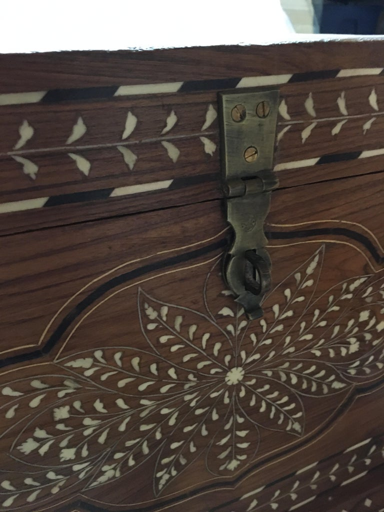 Teak Chest with Bone and Rosewood Inlay For Sale 1