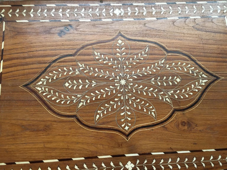 Teak Chest with Bone and Rosewood Inlay For Sale 4