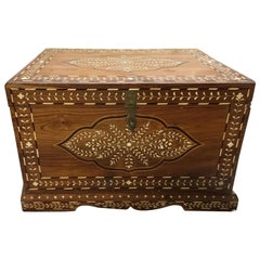 Teak Chest with Bone and Rosewood Inlay