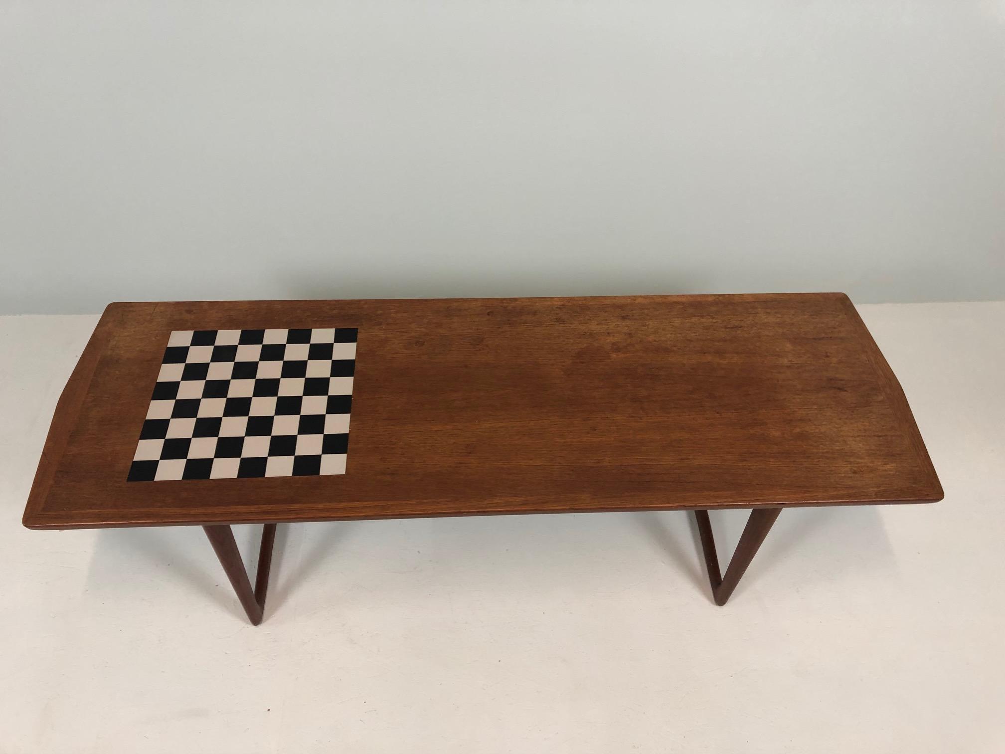 Teak Coffee Table 1960s Danish With Chessboard