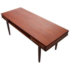 Teak Coffee Table by Danish Furniture Maker, 1960s, with Shelf and Two Drawers