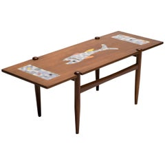 Teak Coffee Table with Mosaic Tile Top