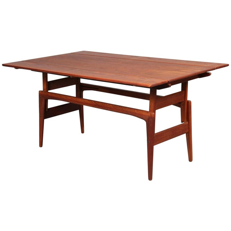 Mid Century Lane Copenhagen Drop Leaf Coffee Table: Teak Copenhagen Elevator Drop-Leaf Convertible Coffee To