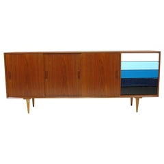 Teak Credenza with Sliding Doors and Color Blocked Drawers