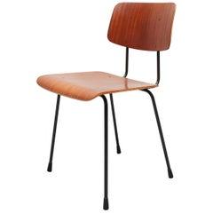 Teak Curved Plywood Chair Gispen Model 1262, 1950s, Holland