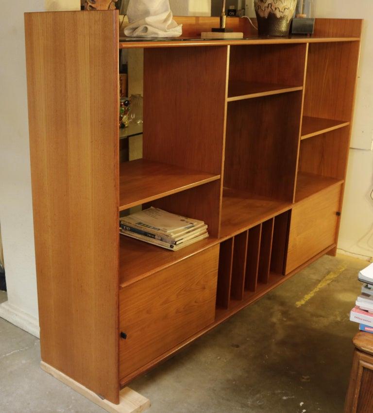 Leather Teak Danish Bookshelf For Sale