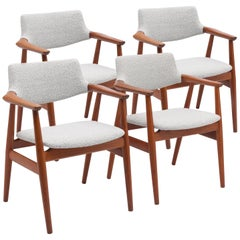 Teak Danish Dining Armchairs by Svend Åge Eriksen in Bouclé Fabric
