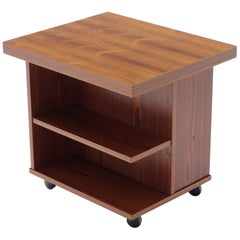 Teak Danish Mid-Century Modern Rolling Bookcase End Table Stand