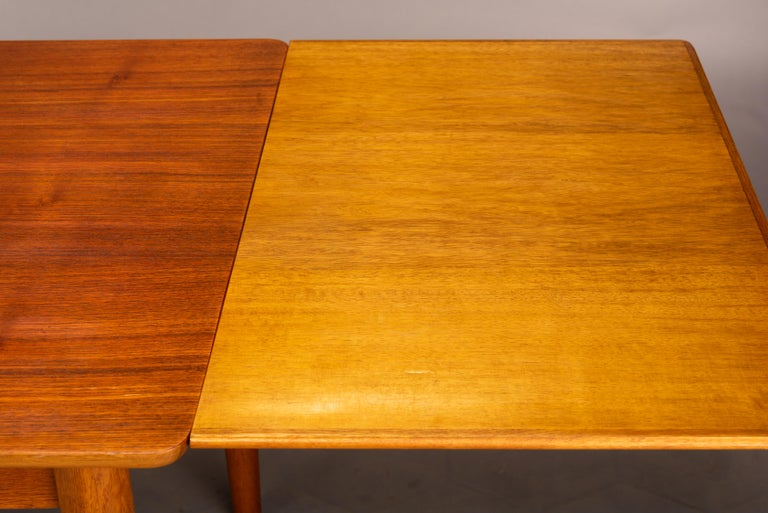 Teak Danish Mid-Century Modern Extendable Dining Table, 1960s For Sale 9