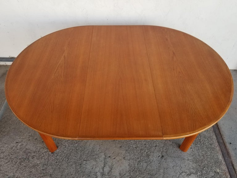 Scandinavian Modern Teak Danish Modern Expanding Dining Table