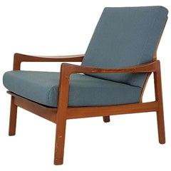 Teak Danish Modern Lounge or Armchair in New Green Fabric, Denmark, 1960s