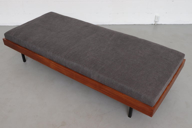 Dutch Teak Daybed with Grey Mattress For Sale