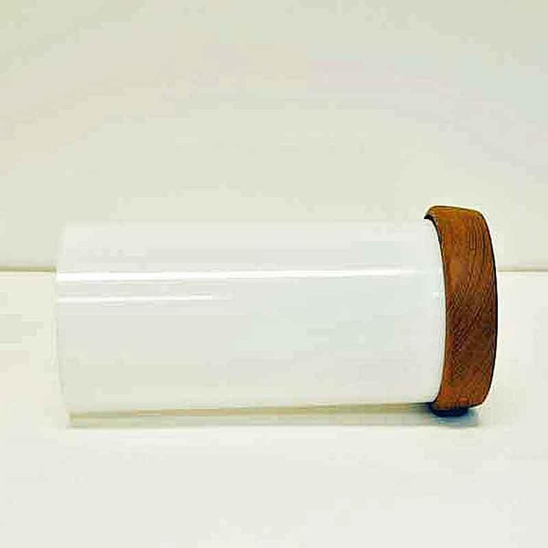 Scandinavian Modern Teak and white acrylic Desk Lamp 24cmH Sweden 1960s For Sale