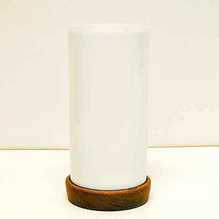 Swedish Teak and white acrylic Desk Lamp 24cmH Sweden 1960s For Sale