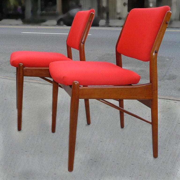 Set of 4 teak, Danish modern dining chairs by Arne Vodder for Sibast Mobler are newly refinished and are at present stripped of their shown upholstery awaiting your own.