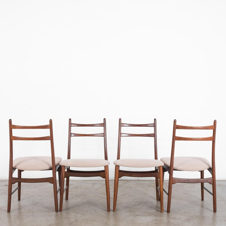 Fabric Teak Dining Chairs, Set of Four For Sale