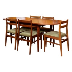 Teak Dining Table and 5 Chairs MCM, 1970s