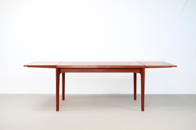 Teak Dining Table with Extensions by Henning Kjærnulf for Vejle Møbelfabrik 1960 For Sale 1