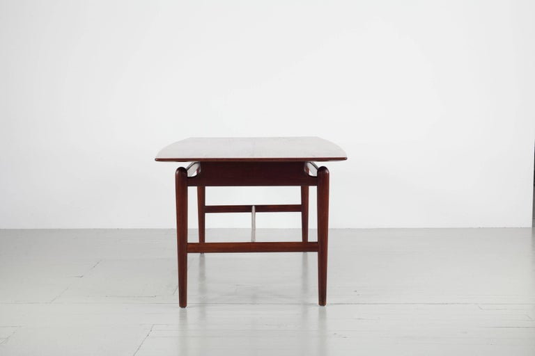 Set of Italian Dark Teak Wood Dining Table and 6 Chairs, 1950s For Sale 10