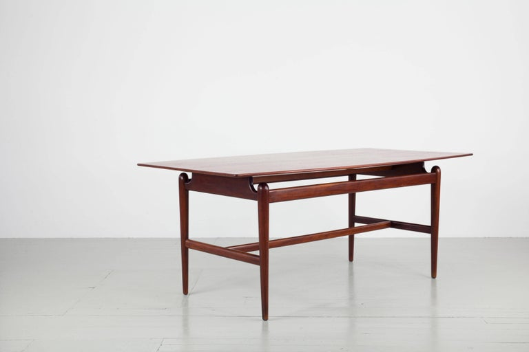 Set of Italian Dark Teak Wood Dining Table and 6 Chairs, 1950s For Sale 9