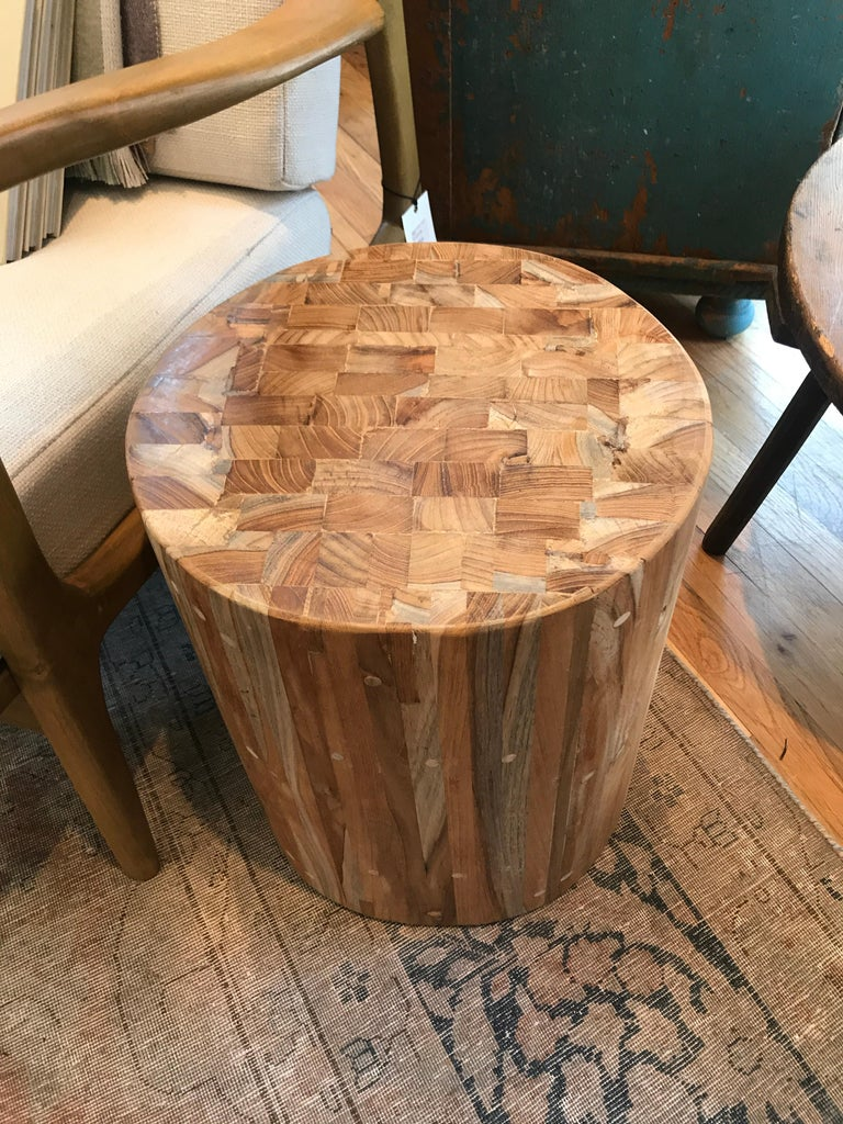 Teak Drum Side Table In Excellent Condition For Sale In Los Angeles, CA