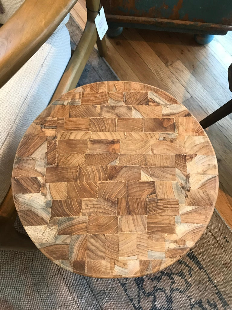 Late 20th Century Teak Drum Side Table For Sale