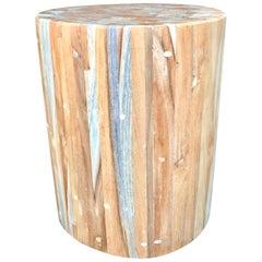 Teak Drum Side Table
