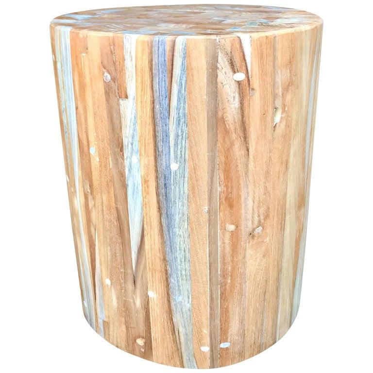 Teak Drum Side Table For Sale