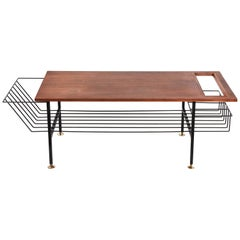 Teak, Enamelled Iron and Brass Italian Coffee Table with Magazine Rack, 1960s