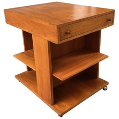 Teak End Table with Adjustable Shelf's and 1-Drawer