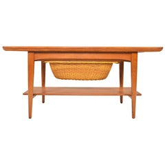 Teak Extension Coffee Table with Sewing Basket