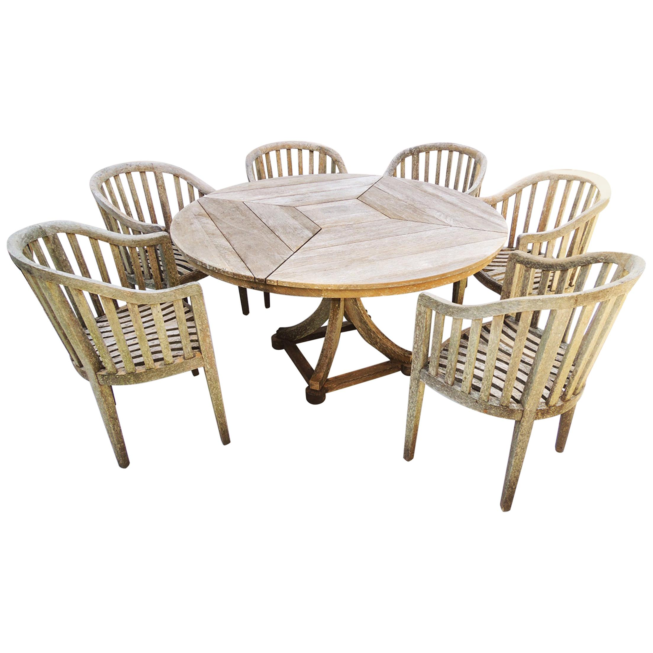 Teak Garden Set, Table And Six Chairs By Munder Skiles For Sale