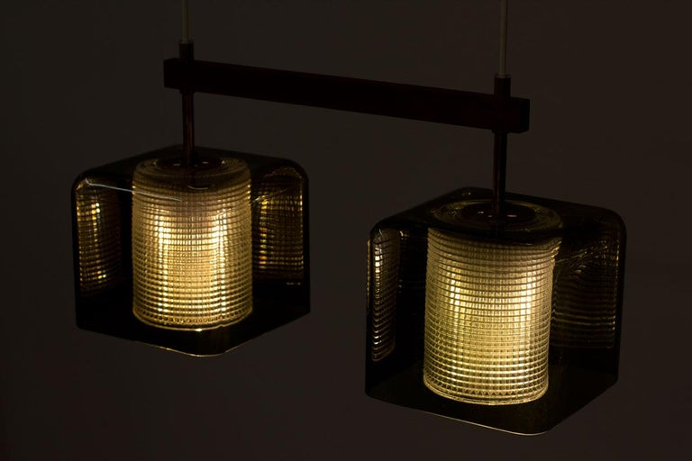 Teak, Glass and Brass Hanging Lamp by Carl Fagerlund for Orrefors, Sweden, 1960s For Sale 4