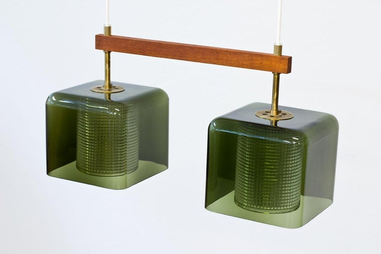 Scandinavian Modern Teak, Glass and Brass Hanging Lamp by Carl Fagerlund for Orrefors, Sweden, 1960s For Sale