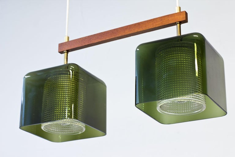 Teak, Glass and Brass Hanging Lamp by Carl Fagerlund for Orrefors, Sweden, 1960s In Good Condition For Sale In Stockholm, SE