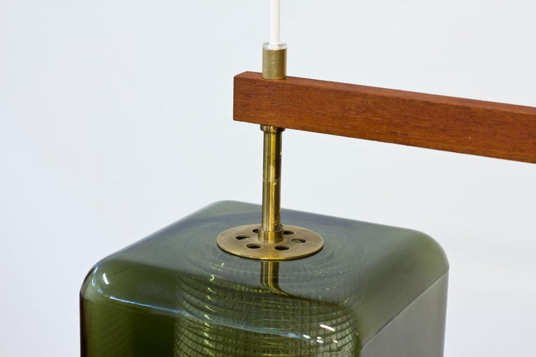 Mid-20th Century Teak, Glass and Brass Hanging Lamp by Carl Fagerlund for Orrefors, Sweden, 1960s For Sale