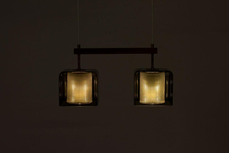 Teak, Glass and Brass Hanging Lamp by Carl Fagerlund for Orrefors, Sweden, 1960s For Sale 3
